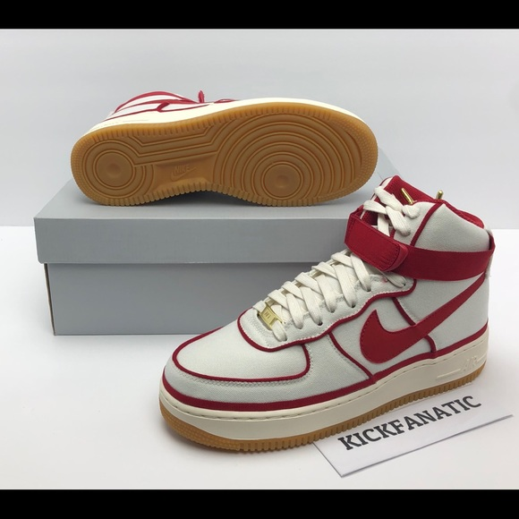 Men's Athletic Shoes *New* Nike Air Force 1 High '07 LV8 Men's Size Sail/Gym Red-Black 806403-101 Clothing, Shoes & Accessories